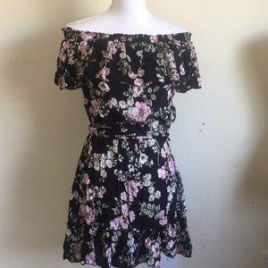LF floral off shoulder ruffle dress